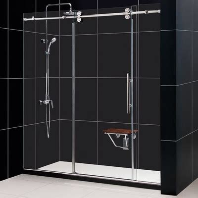 Frameless Shower Sliding Glass Doors Dreamline Enigma 56 To 60 Quot Fully Frameless Sliding Shower Door Clear 1 2 Quot Glass Door Reviews