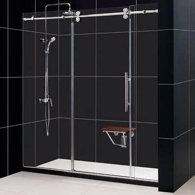 Sliding Frameless Shower Doors Dreamline Enigma 56 To 60 Quot Fully Frameless Sliding Shower Door Clear 1 2 Quot Glass Door Reviews