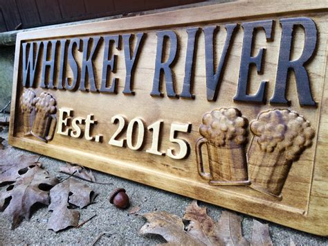 Handmade Wooden Signs Personalized - personalized bar sign carved wood sign custom wood sign