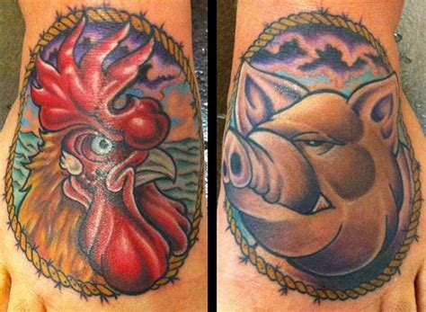 rooster and pig tattoo rooster and pig foot by chris rogers tattoonow