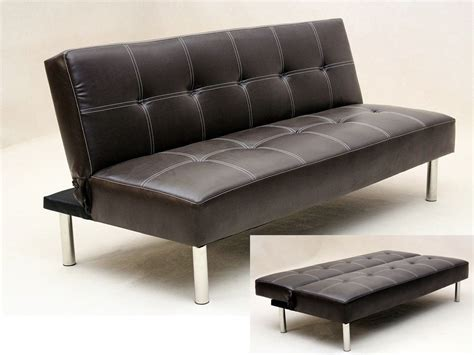 Sofa To Bed Furniture Faux Leather 3 Seater Sofa Bed Brown Black Homegenies