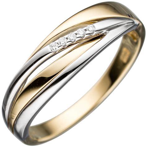 Bicolor Ringe by Damen Ring 585 Gold Gelbgold Wei 223 Gold Bicolor 5 Diamanten