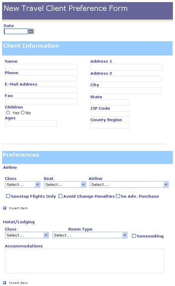 travel agency forms templates new travel client preference form templates work from