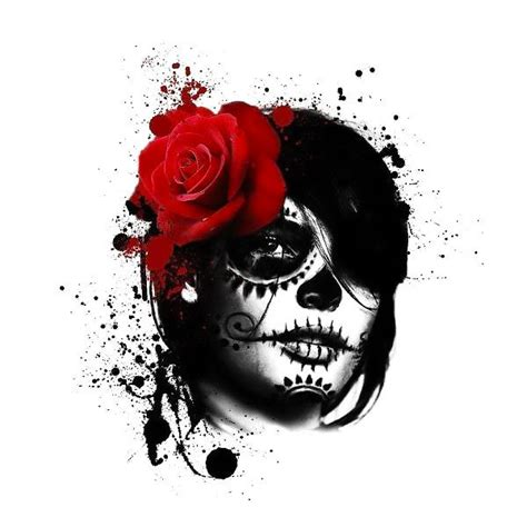 trash polka day of the dead tattoo design