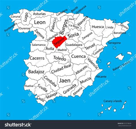 Segovia Map Spain Province Vector Map Stock Vector