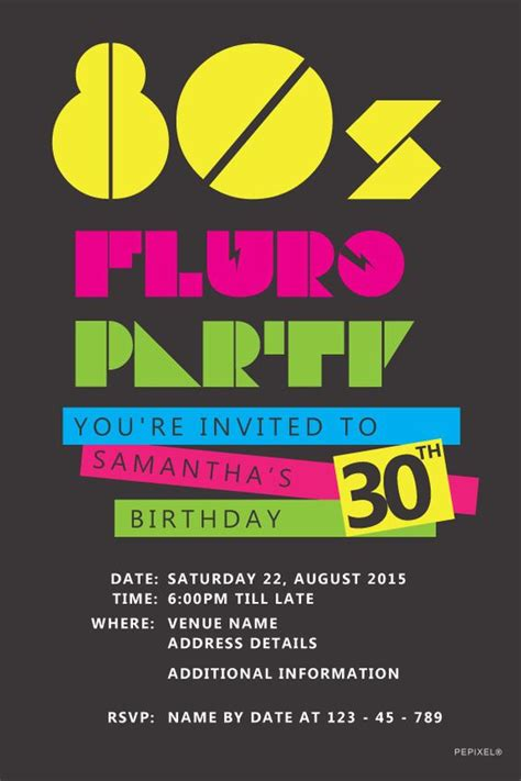 80s invitation template birthday invitation templates back to the 80 s and 80s