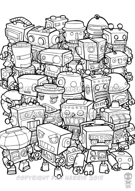 robot coloring pages pdf retro robot colouring page adult colouring book page