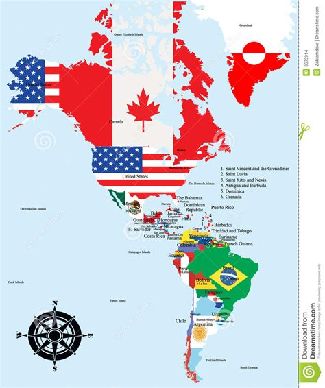 america map with country names american map with country and city names stock images