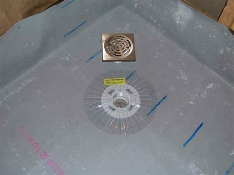 Shower Pan Liner Installation by A Neo Angle Shower Being Installed With Chloraloy Cpe Pan