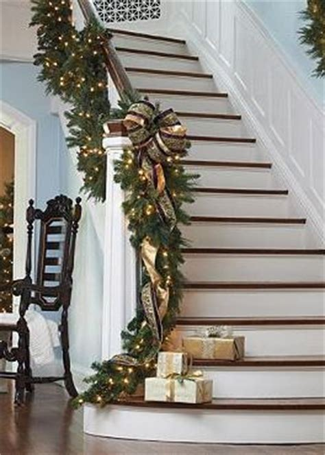 lighted garland for staircase 551 best christmas stair decor images on pinterest