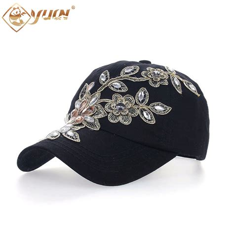 2016 vintage style adjustable hat floral embroidery