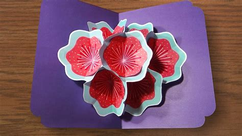 how to make a 3d flower pop up greeting card how to make a 3d flower pop up card easy and simple