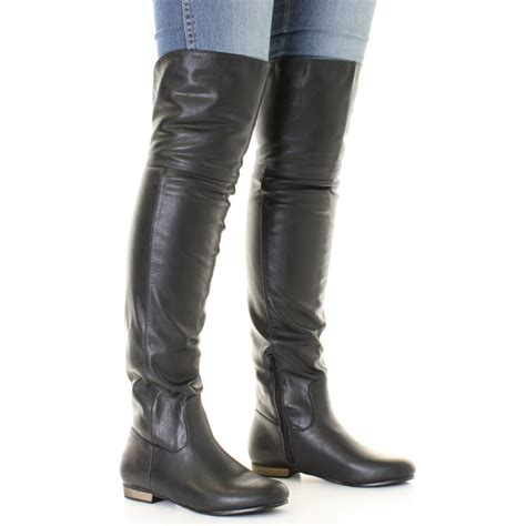 thigh high leather boots womens black leather style flat knee thigh high