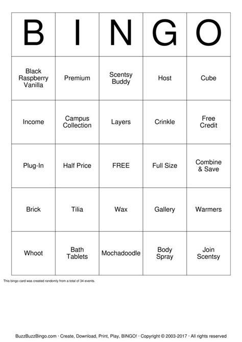scentsy bingo cards   print  customize