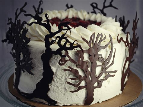 black pattern cake black forest cake with chocolate trees food pinterest