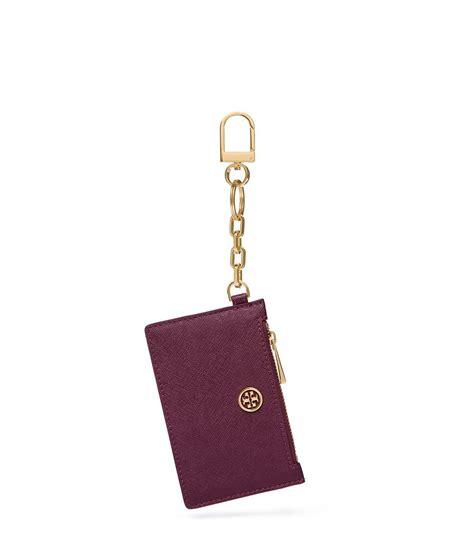 Tory Burch Gift Card - tory burch robinson zip card key fob in purple lyst