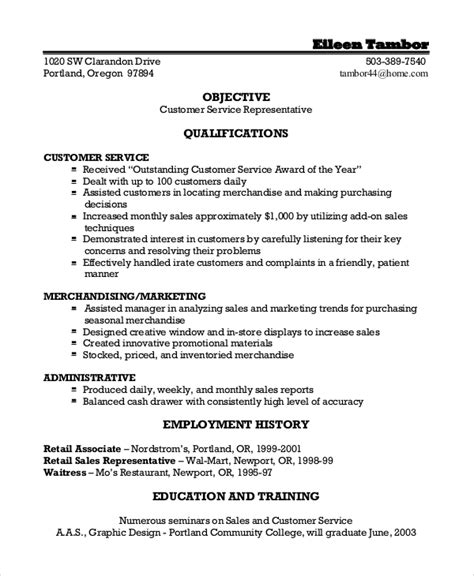 Objectives For Customer Service Resumes by Sle Customer Service Objective 8 Exles In Pdf Word
