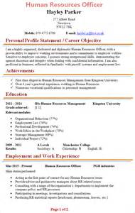Hr Manager Cv Template by Human Resources Officer Cv Template 1