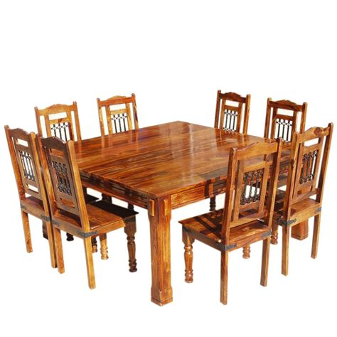 Transitional Solid Wood Rustic Square Dining Table Chairs Set Solid Wood Dining Table Chairs