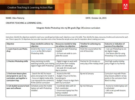 creative teaching learning action plan template and