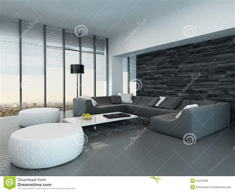Modern White And Grey Living Room by Interior Of A Modern Grey And White Living Room Stock