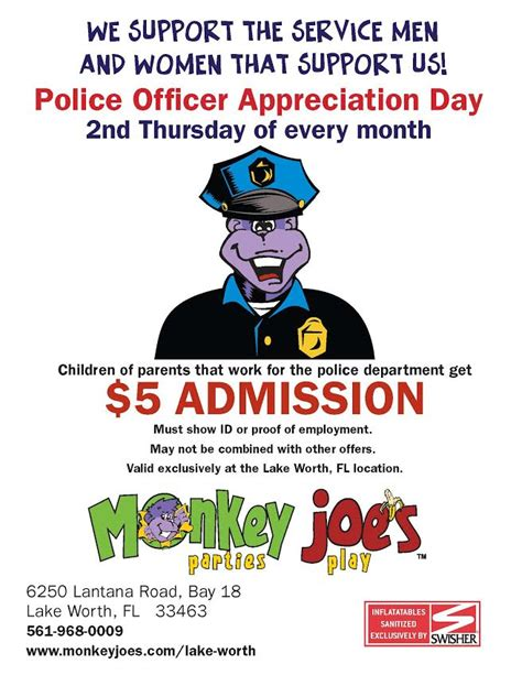 Officer Appreciation Day by Special Discounts Lake Worth Fl Monkey Joes