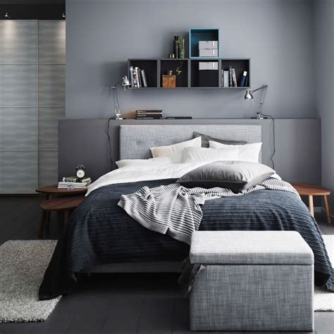 mens bedroom a grey bedroom with a grey 197 rviksand divan bed a grey