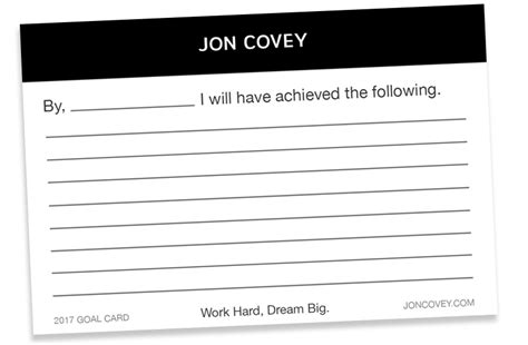 goal card template my free goal card template coaching