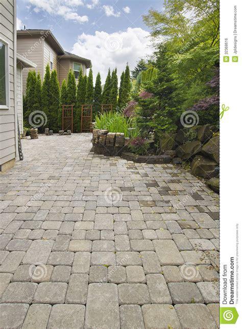 Large Paver Patio Backyard Brick Paver Patio With Pond Royalty Free Stock