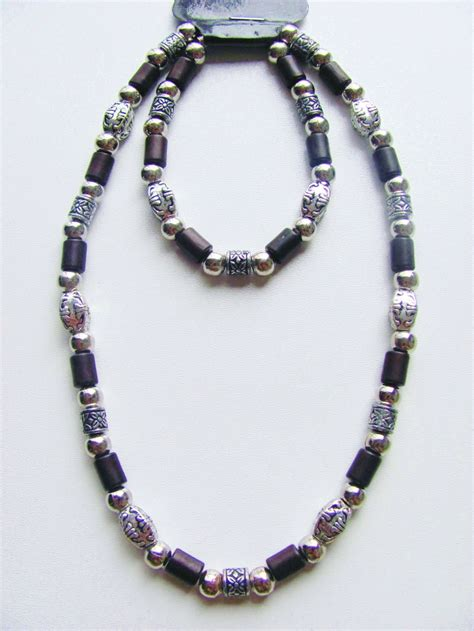 mens beaded jewelry miami two tone brown surfer beaded necklace