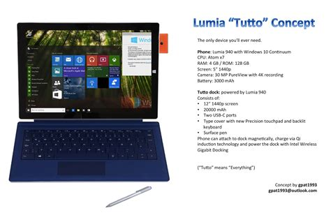 Tablet Microsoft Lumia lumia tutto concept is a lumia 940 extension a tablet and laptop concept phones