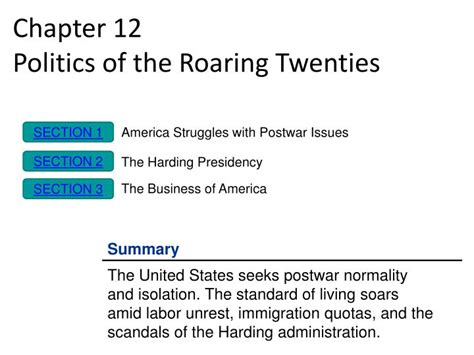 the business of america chapter 12 section 3 ppt chapter 12 politics of the roaring twenties