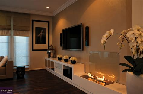 fireplace decor ideas modern contemporary open flame fireplace tv flowers olpos design