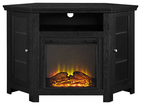 Corner Fireplace Tv Stand Entertainment Center by Walker Edison 48 Quot Corner Fireplace Tv Stand Black