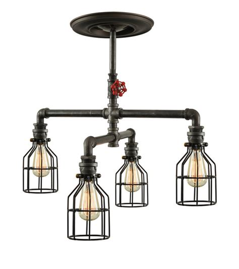 steunk industrial ceiling light industrial pipe light