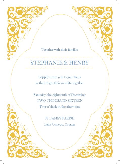 gold template image gold border wedding invitation templates free