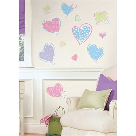 Disney Princess Bedroom Stickers 16 New Pink Purple Blue Hearts Wall Decals Girls Bedroom