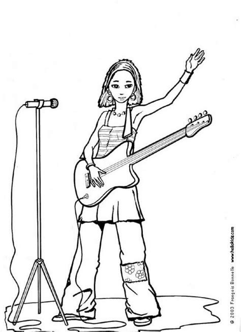 girl guitar coloring page rock guitar coloring pages