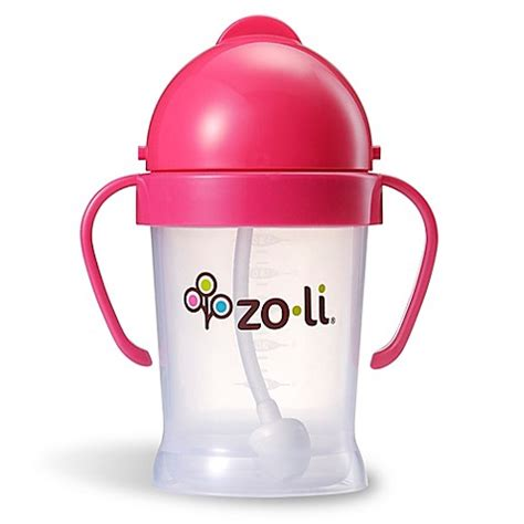 Zoli Bot Straw Sippy Cup 6oz Pink bot 6 oz sippy straw cup in pink from zoli from buy buy baby