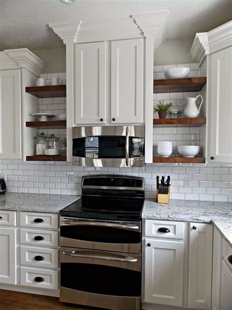 kitchen with wood open shelves just decorate 25 best ideas about microwave shelf on pinterest white