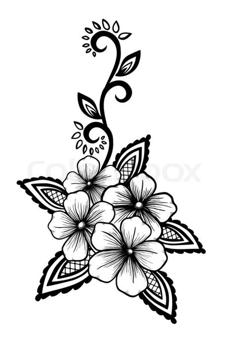 design flower black and white beautiful floral element black and white flowers and