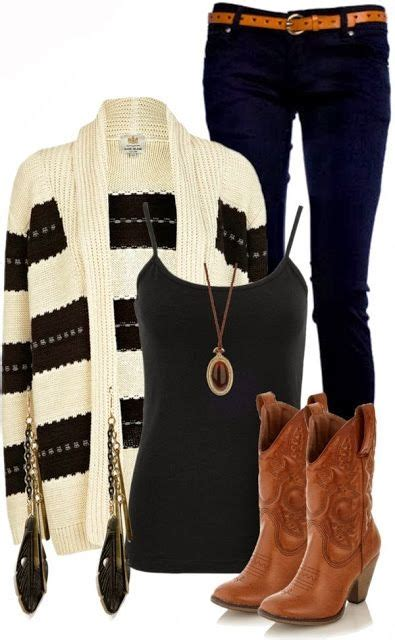 brown boot black and white sweater and blackish pent