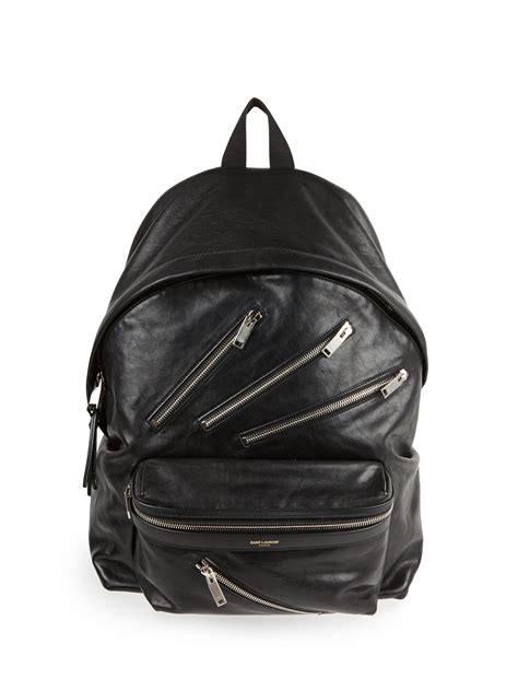 Laurent Backpack laurent leather multizip backpack in black for lyst