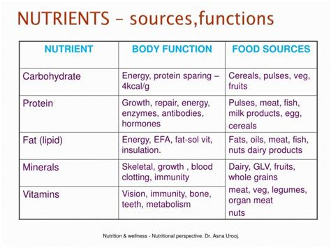 carbohydrates nutrient function ppt nutrients constituents in food supplied to the