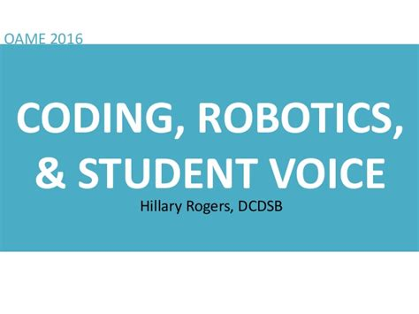 coding robotics and engineering for students a tech beginnings curriculum books coding robotics student voice oame 2016