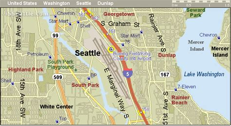 seattle map i5 i 5 boeing field wa exit and gas stations map