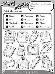 school objects matching b w worksheets kola pinterest school objects worksheet 1 b w version ingilizce