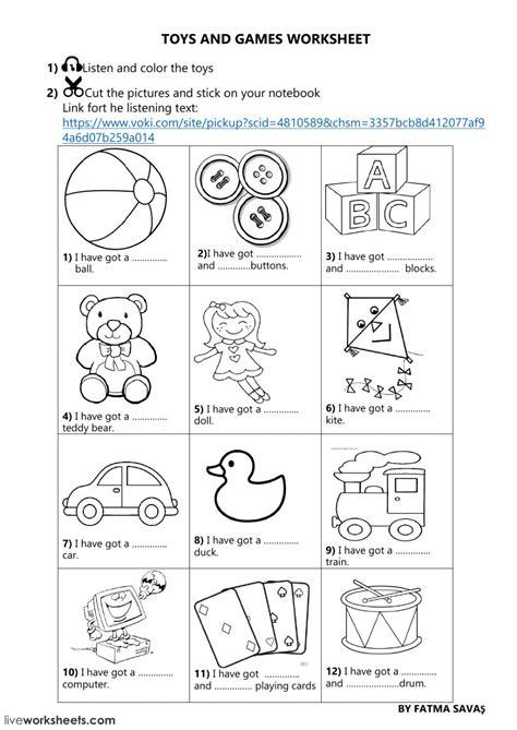 3rd grade unit 5 toys and games online worksheet
