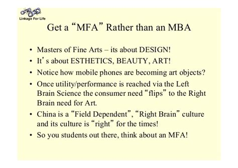 Mfa Mba Difference by East Right Brain West Left Brain Cross Culture