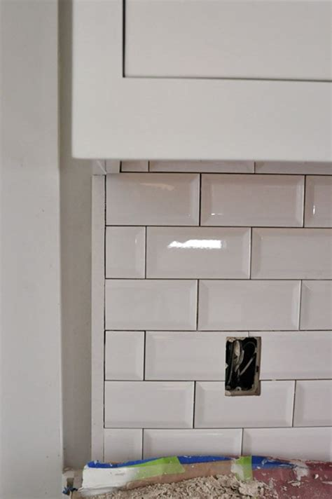 beveled subway tile backsplash finish tile backsplash with of this on